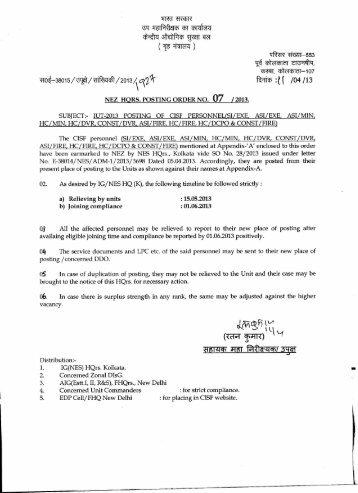 NEZ- IUT-2013 Posting of CISF personnel