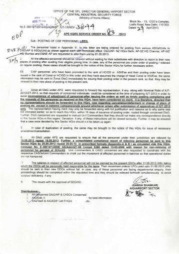 Posting Of CISF Personnel (Lr.No.3844 dt 29.04.13) - Central ...