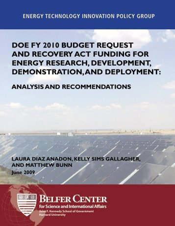 Doe Fy 2010 BuDGet requeSt anD recovery act FunDinG For ...