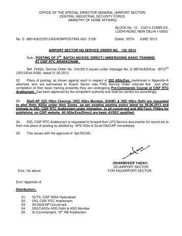 ASI/Exe UT Posting Order (So.No.120 dt 05.06.13) - CISF