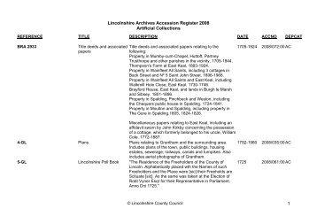 Adobe PDF - Lincolnshire Archives - Accession Register 2008