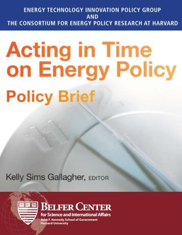 Acting in Time on Energy Policy - Belfer Center for Science and ...