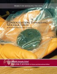 Consolidation: Thwarting Nuclear Theft - Belfer Center for Science ...