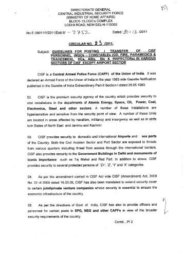 Guidelines for Posting/Transfer of CISF personnel(NGOs-CT(GD ...