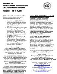 Counselor Application - Delaware National Guard
