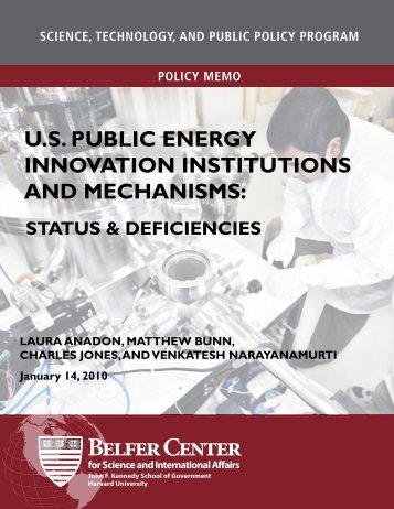 us public energy innovation institutions and mechanisms: status ...