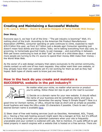 Creating and Maintaining a Successful Website in the Pet Industry