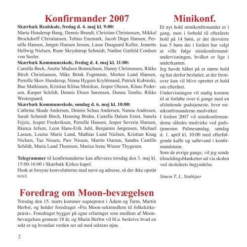 • Konfirmander 2007 • Tanker om folkekirkens ... - Skærbæk Kirke
