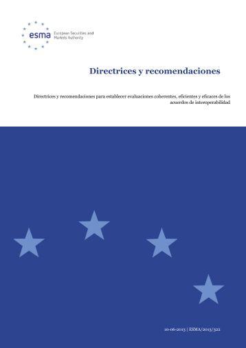 Directrices y recomendaciones - Esma - Europa