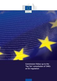 Commission follow-up to the 'Top Ten' consultation of SMEs on EU ...
