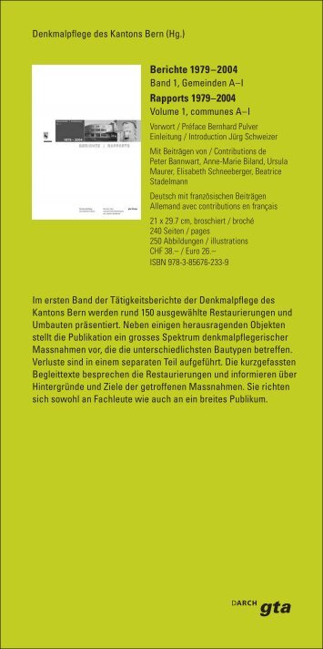 Bestellkarte Berichte 1979 - 2004 Band 1, Gemeinden A-I