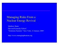 Managing Risks From a Nuclear Energy Revival - Belfer Center for ...