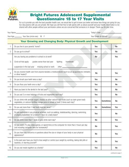 Bright Futures Adolescent Supplemental Questionnaire 15 to
