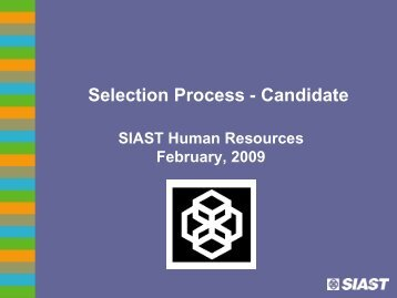 SIAST Candidate Selection Process