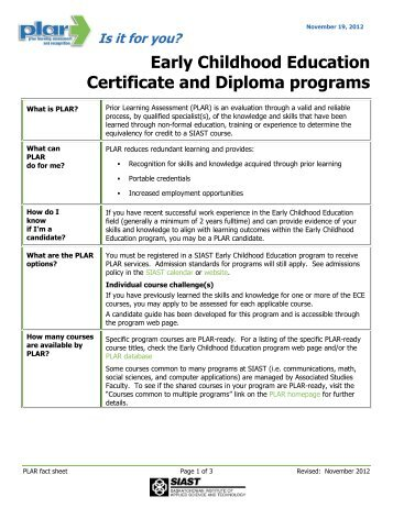 Early Learning and Child Care Diploma Courses CERTIFICATE ...
