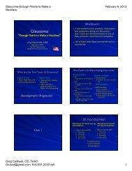 Glaucoma lecture 1 hour Feb 6, 2013 - Michigan Optometric ...