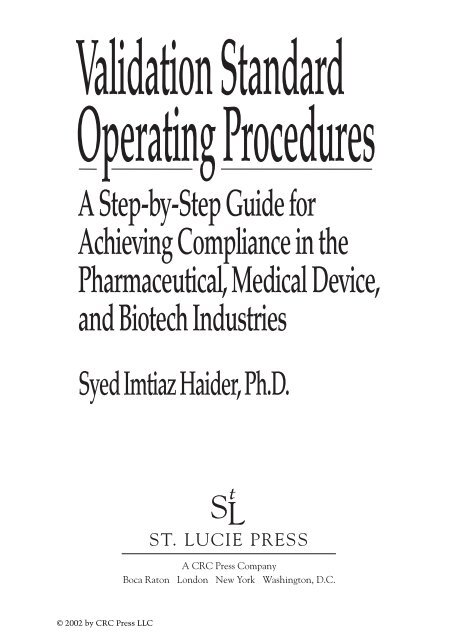 Validation Standard Operating Procedures A Step By Step Guide For