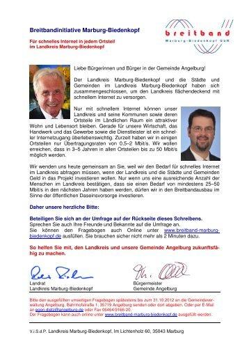 Anschreiben Bedarfsabfrage und Fragebogen - Angelburg
