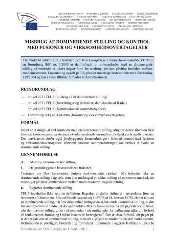 Misbrug af dominerende stilling og kontrol med fusioner og ... - Europa