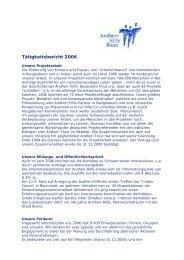 Tätigkeitsbericht 2006 - Andheri-Hilfe Bonn