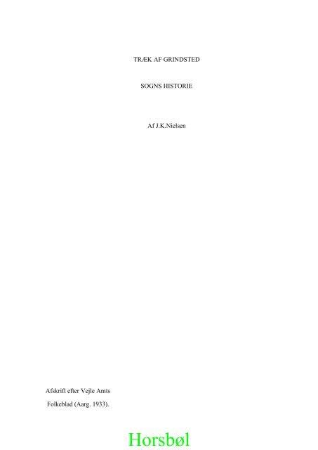 Træk af Grindsted Sogns historie af Jens Kristian Nielsen