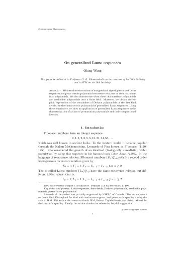 On generalized Lucas sequences - Mathematics and Statistics ...