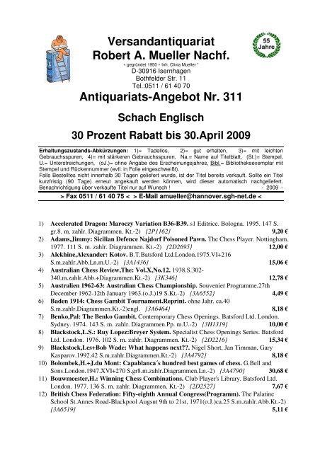 Antiquariats Angebot Nr 311 Schach Englisch 30