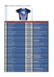 Næsby Cykelmotion medlemsliste pr . 01-10-2011