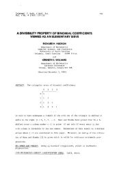 a divisibility property of binomial coefficients viewed as an ...