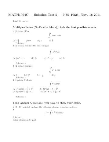 MATH1004C — Solution-Test 5 — 9:35–10:25, Nov. 18 2011
