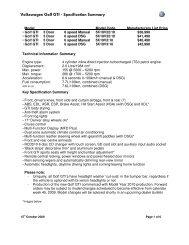Golf GTI Specification Summary Sep 09a - my-gti.com