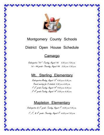Montgomery County Schools District Open House Schedule ...