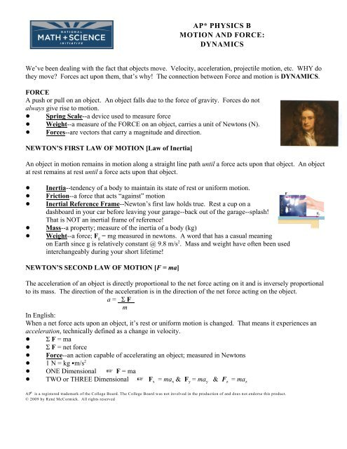 Ap Physics B Motion And Force Dynamics Trussville City