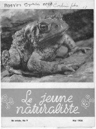 Le Jeune Naturaliste – Mai 1958.