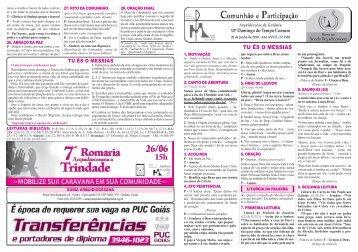 12° Domingo.indd - Arquidiocese de Goiânia