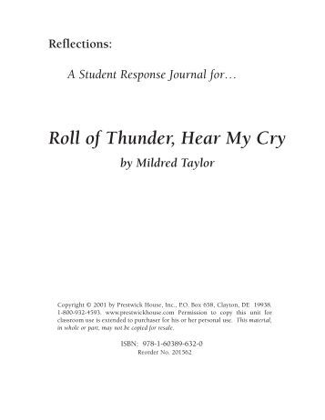 a literary analysis of roll of thunder hear my cry Roll of thunder, hear my cry figurative language bundletext: roll of thunder, hear my cry by mildred taylorlevel: 5th - 12thcommon core: ccssela-literacyrl4this resource can be purchased as part of roll of thunder, hear my cry unit teaching package bundleusing quotes from roll of thunder, hear.