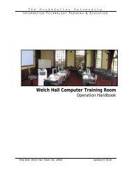 Welch Hall Computer Training Room