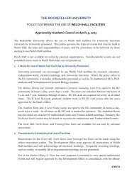 General Welch Hall Use Policy - The Rockefeller University ...