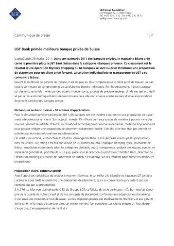 Communiqué de presse LGT Bank primée meilleure banque privée ...