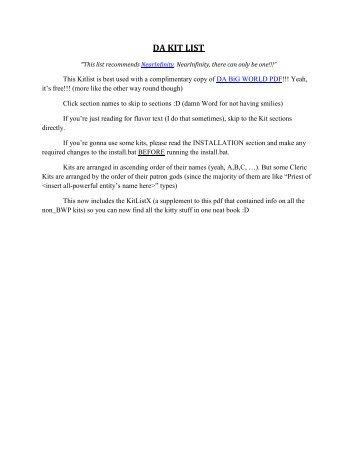 DA KIT LIST - SHS Download Center
