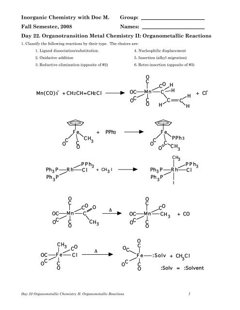 Day 22 Organotransition Metal Chemistry Ii Organometa Mattson