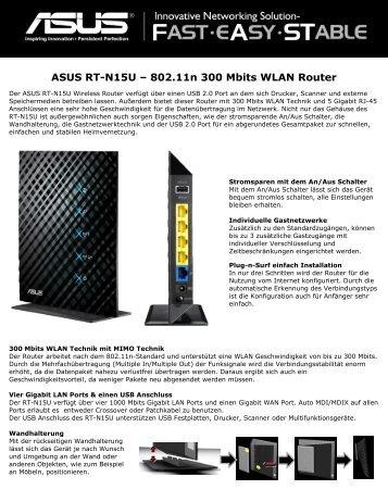 ASUS RT-N15U ? 802.11n 300 Mbits WLAN Router - Produktinfo ...