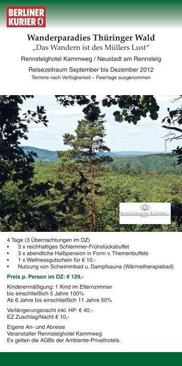 Wanderparadies Thüringer Wald - Leserreisen
