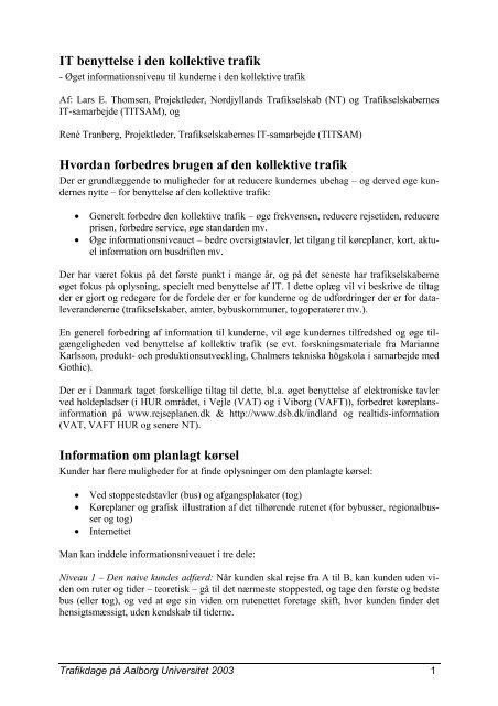 IT benyttelse i den kollektive trafik - Trafikdage.dk