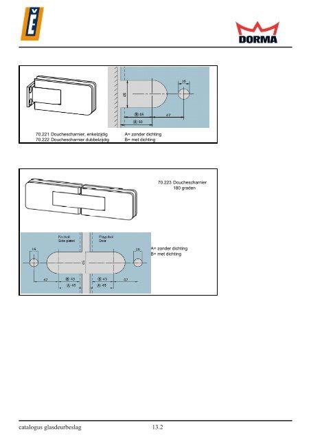 Systeemscharnieren voor glazen douchecabines DORMA DB