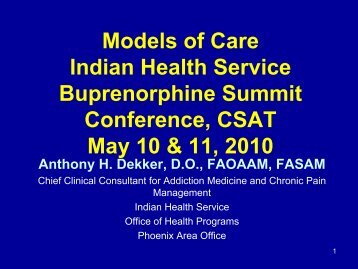 Models of Care Indian Health Service Buprenorphine Summit ...