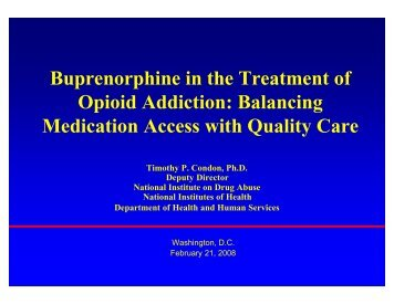 Buprenorphine In The Treatment Of Opioid Addiction