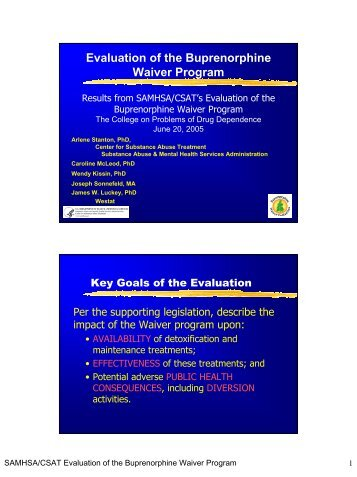 Evaluation of the Buprenorphine Waiver Program
