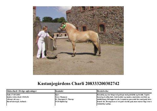 Kastanjegårdens Charli 208333200302742