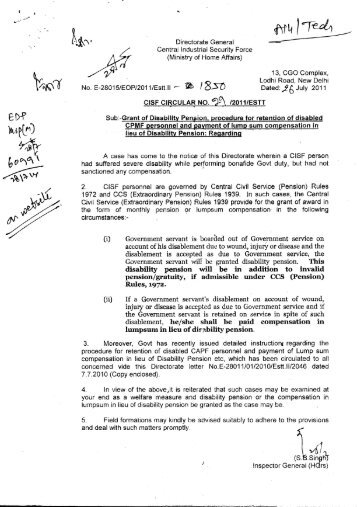 Procedure for retention of disabled CAPFs personnel and ... - CISF